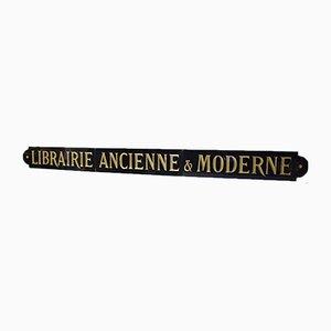 Antikes französisches Bibliothek Schild von J. Quenaud