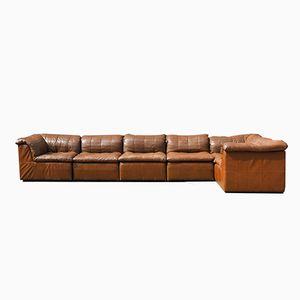 Cognac Leather Patchwork Element Sofa, 1970s