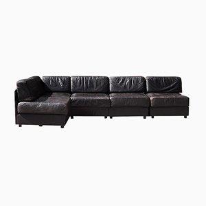 Dunkelbraunes Leder Sofa, 1970er