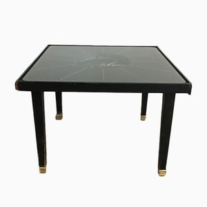 Horloge de Table en Cuir et Laiton, France, 1950s