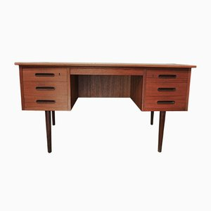 Scandinavian Teak Desk with 6 Drawers, 1960s