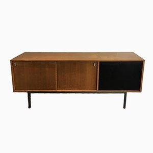 Aparador con dos puertas giratorias, mueble bar y base metálica, años 50