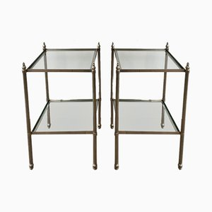 Neoclassical Silvered Brass Side tables, 1940s, Set of 2