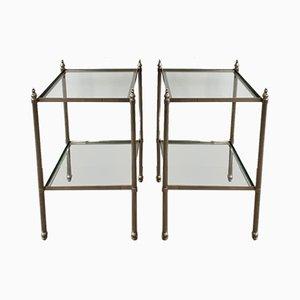 Tavolini neoclassici in ottone argentato, anni '40, set di 2