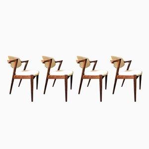 Mid-Century Modell 42 Palisander Esszimmerstühle von Kai Kristiansen für Schou Andersen, 4er Set
