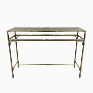 Mesa consola de latón plateada, de bambú sintético y latón con cristal ahumado, años 70
