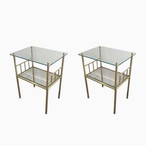 Französische Messing und Glas Beistelltische mit geriffelten Beinen, 1950er, 2er Set