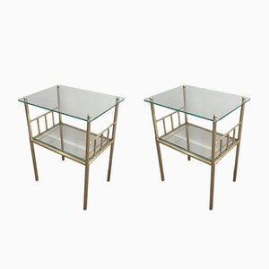 French Brass and Glass Side Tables with Fluted Legs, 1950s, Set of 2