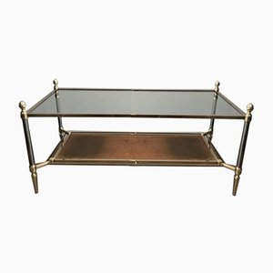 Brushed Steel, Brass, and Brown Leather Neoclassical Coffee Table by Maison Jansen, 1940s