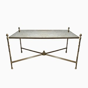 Neoclassical Faux Bamboo Bronze & Brass Coffee Table from Maison Bagues, 1940s