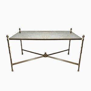 Table Basse Néoclassique en Faux Bambou, Bronze, et Laiton de Maison Bagues, 1940s