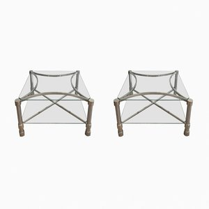 Tables d'Appoint en Chrome et Verre, France, 1970s