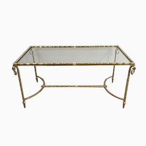 French Neoclassical Brass Coffee Table, 1940s