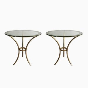 Tables d'Appoint Rond en Laiton Doré, 1970s, Set de 2