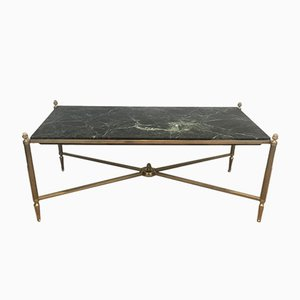 Bronze & Brass Coffee Table with Green Marble Top from Maison Bagués, 1940s