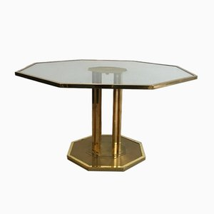 Table Octogonale en Laiton et Verre, France, 1970s