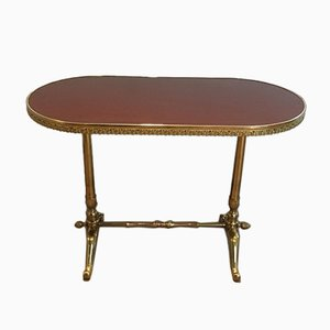 Small French Neoclassical Style Wood & Brass Coffee Table, 1950s