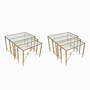 French Neoclassical Brass Nesting Tables, 1940s