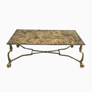 French Neoclassical Style Brass Coffee Table with Dolphins and Gold on Glass Top from Maison Jansen, 1940s