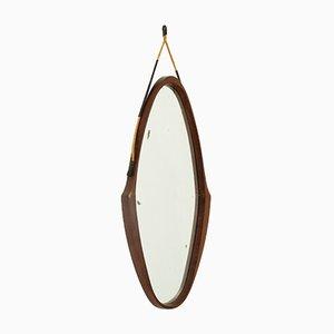 Espejo italiano ovalado con marco de teca, años 50