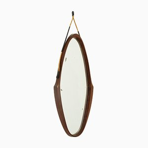 Italian Oval Teak Framed Mirror, 1950s