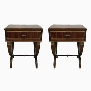 Neoclassical Style End Tables in Mahogany and Brass, 1940s
