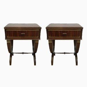 Tables Basses de Style Néoclassiques en Acajou et Laiton, 1940s