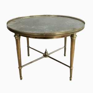 Round French Neoclassical Style Coffee Table in Brass, 1940s