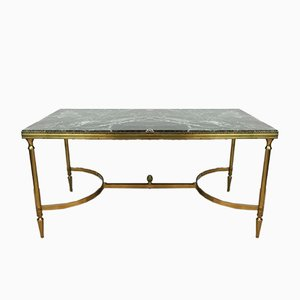 Neoclassical Style Brass Coffee Table with Marble Top, 1940s
