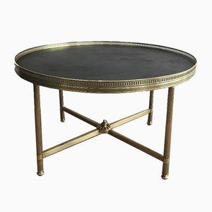 Tavolino da caffè rotondo in stile neoclassico con ripiano in similpelle di Maison Jansen, Francia, anni '40