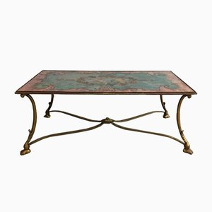 Gilt Iron Coffee Table with Painted Top Depicting Birds and Flowers, 1960s