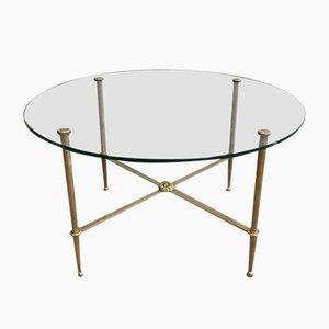 Messing Beistelltische mit runden Glasplatten von Maison Jansen, 1940er, 2er Set