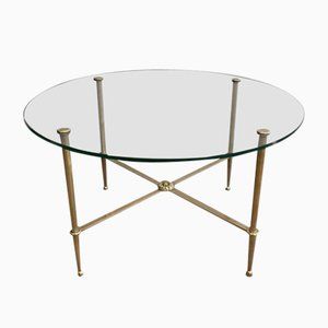Neoclassical Style Brass Side Tables with Round Glass Tops from Maison Jansen, 1940s, Set of 2