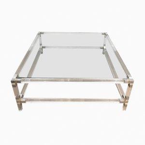 Mesa de centro cuadrada de lucite con esquinas cromadas y superficie de vidrio, años 70
