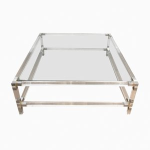 Square Lucite Coffee Table with Chrome Corners and Glass Top, 1970s
