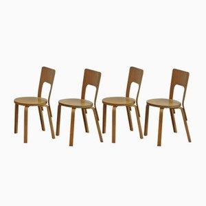 Chaises Modèle 66 par Alvar Aalto pour Artek, 1980s, Set de 4