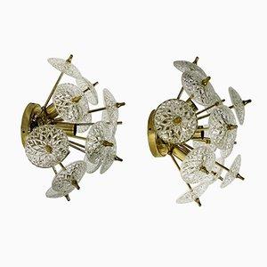 Lámparas de pared o de montaje Sputnik de cristal, años 60. Juego de 2