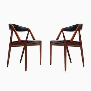 Modell 31 A-Frame Esszimmerstühle von Kai Kristiansen für Schou Andersen, 1960er, 2er Set
