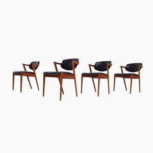 Model 42 Teak & Leatherette Dining Chairs by Kai Kristiansen for Schou Andersen, 1960s, Set of 4
