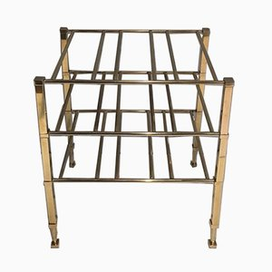 French Wine Bottle Rack in Brass from Maison Jansen, 1940s