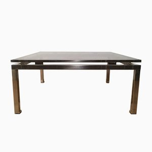 Brushed Steel Square Coffee Table by Guy Lefèvre, 1970s