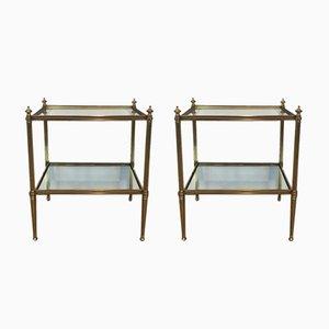 Mesas auxiliares estilo neoclásico de latón, años 40. Juego de 2