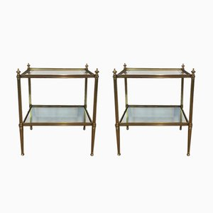 Neoclassical Style Brass Side Tables, 1940s, Set of 2