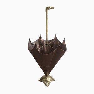 Messing Schirmständer mit Hundekopf, 1940er