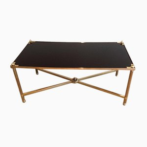 Table Basse Rectangulaire en Laiton avec Plateau en Verre Laqué Noir par Maison Jansen, 1940s