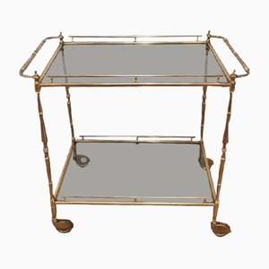 Small Brass Trolley with Tinted Glass, 1940s
