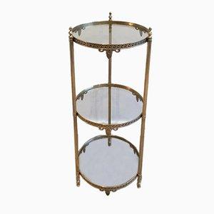 Kleiner runder französischer Messing Tisch mit 3 Stufen im neoklassizistischen Stil, 1940er