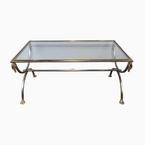Brushed Steel & Brass Coffee Table with Swan's Heads & Feet from Maison Jansen, 1970s