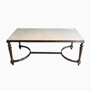 Tavolino da caffè in acciaio spazzolato e ottone con ripiano in marmo, anni '40