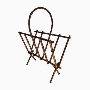 Faux-Bamboo Gilt Metal Magazine Rack, 1960s
